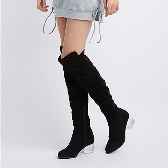 5468406c9b Charlotte Russe Shoes | Nwt Clear Heeled Black Knee High Boots ...